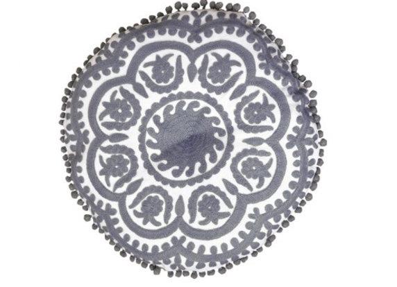 Bombay Duck Gaddi Grey/White Pom Pom & Embroidered Round Cushion