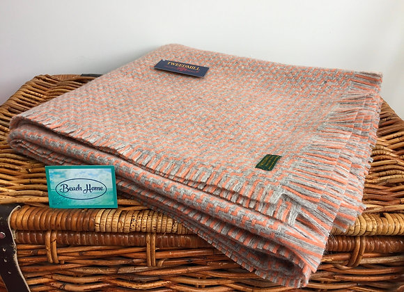 Tweedmill Textiles Grey and Apricot Luma blanket