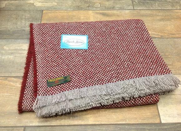 Tweedmill Textiles Burgundy Wine recycled crosshatch blanket