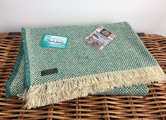 Tweedmill Textiles Jade Green recycled crosshatch blanket