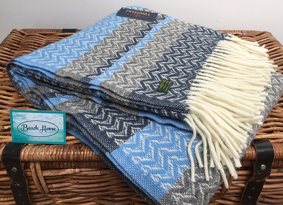 Tweedmill Textiles Pure New Wool Sea Blue, Grey & Navy Ripple Throw/Blanket