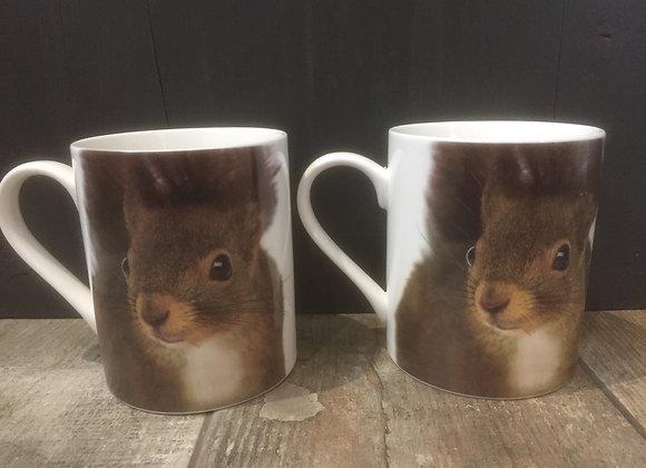 Set of 2 Squirrel China Mugs