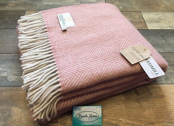 Tweedmill Textiles Pure New Wool Dusky Pink/Pearl Herringbone Blanket/Throw