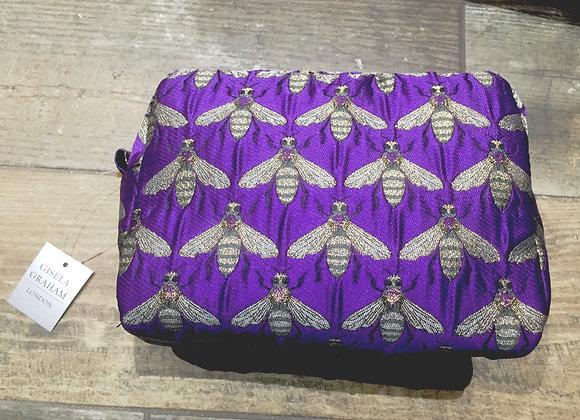 Purple metallic bee boxy make up bag