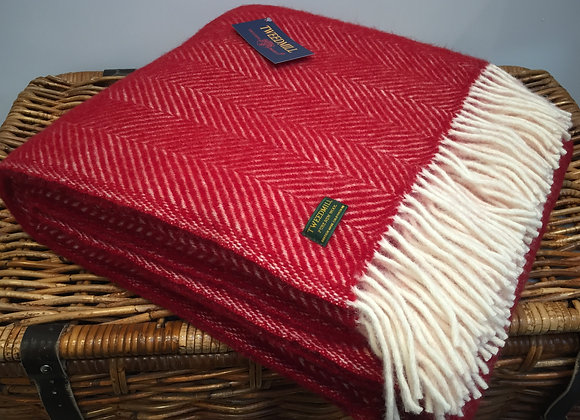Tweedmill Textiles New Wool red Fishbone Throw/ Blanket