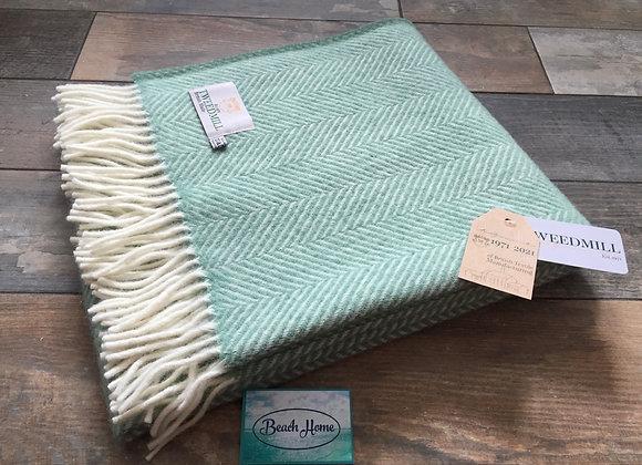 Tweedmill Textiles Sea Green Fishbone knee blanket