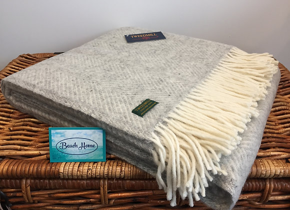 Tweedmill Textiles Pure New Wool Silver Grey/Cream Fishbone Throw/Blanket