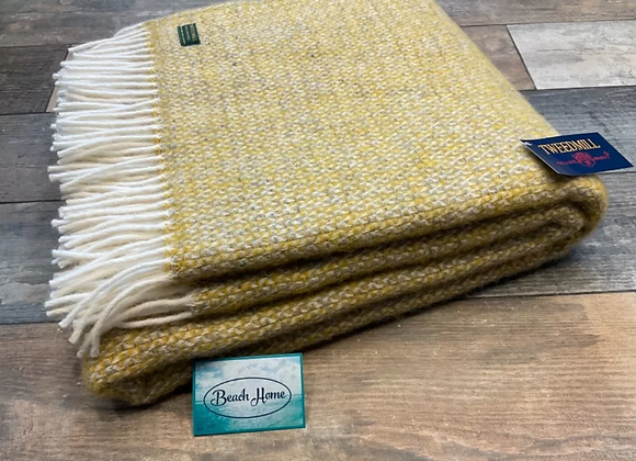 Tweedmill Textiles yellow and grey illusion pure wool blanket/throw