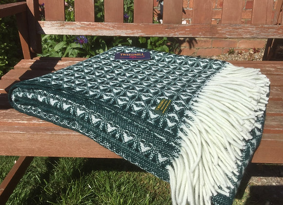 Tweedmill Textiles New Emerald Geometric Cobweave Throw/Blanket