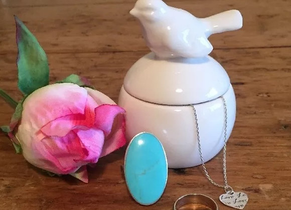 Sass and Belle White Ceramic Round Trinket Box With Bird