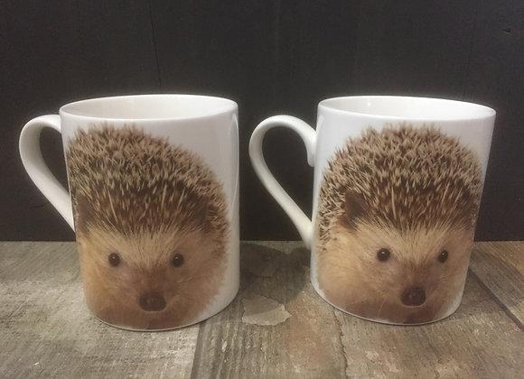 Set of 2 Hedgehog China Mugs
