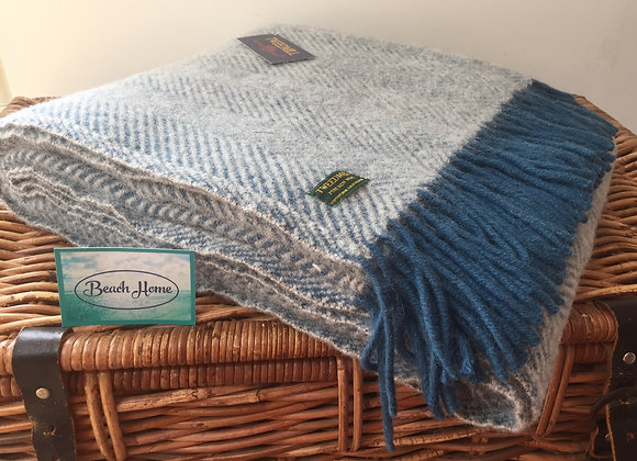 Tweedmill Textiles Pure Wool Ink and grey herringbone Throw/ Blanket