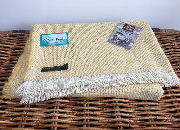 Tweedmill Textiles lemon lemon recycled wool mix crosshatch blanket