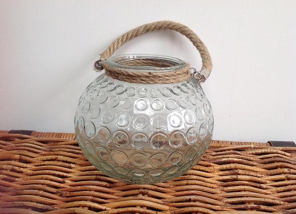 Gisela Graham large, rustic, glass Urchin tea light holder lantern