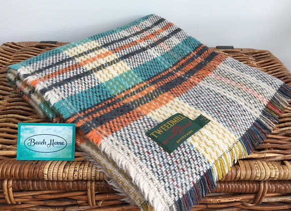 Tweedmill Textiles Orange/turquiose/cream Check recycled wool rug