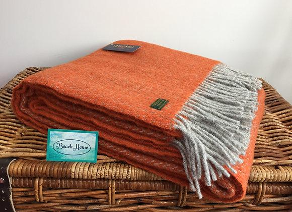 Tweedmill Textiles Pure New Wool Pumpkin Orange/ Grey Illusion Throw/Blanket