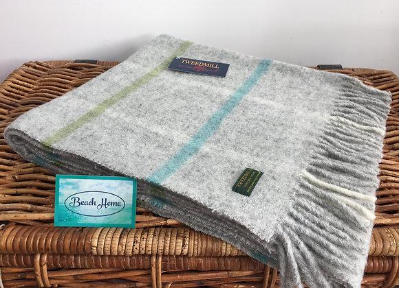 Tweedmill Textiles grey/turquoise/green block check Pure wool knee Blanket