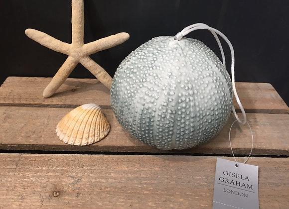 Gisela Graham glazed ceramic blue sea urchin decorative ornament