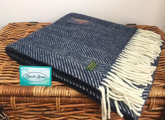 Tweedmill Textiles Navy Fishbone knee blanket