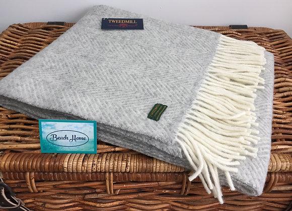 Tweedmill Silver Grey fishbone knee blanket/runner