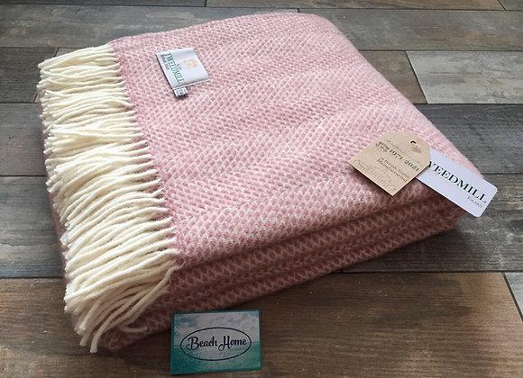 Tweedmill Textiles Pure New Wool Dusky Pink Beehive Throw/Blanket