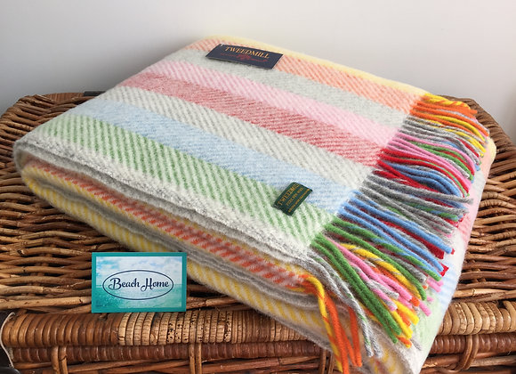 Tweedmill Textiles Pure New Wool Rainbow/Silver Grey Stripe Throw/Blanket