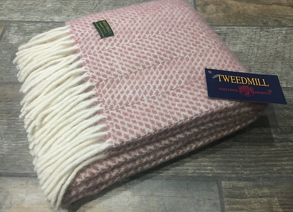 Tweedmill Textiles Pure New Wool Dusky Pink Beehive Scarf/Shawl