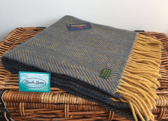 Tweedmill Textiles Mustard & Navy Herringbone knee blanket