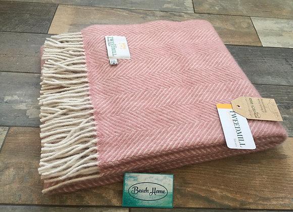 Tweedmill Textiles Dusky Pink and pearl herringbone knee blanket