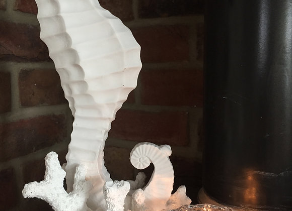White resin coral and seahorse decorative ornament