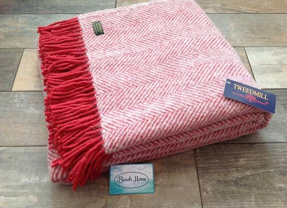 Tweedmill Textiles pure new wool watermelon and grey herringbone Throw/ Blanket