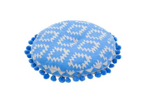 Bombay Duck Aztec Bubble Gum Pom Pom & Embroidered Round Cushion