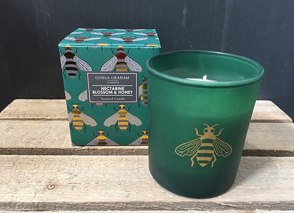 Gisela Graham Nectarine blossom and honey scented bee 40hr candle in gift box