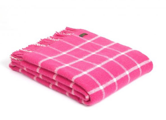 Tweedmill Textiles pure new wool pink Chequered Check Throw/Blanket