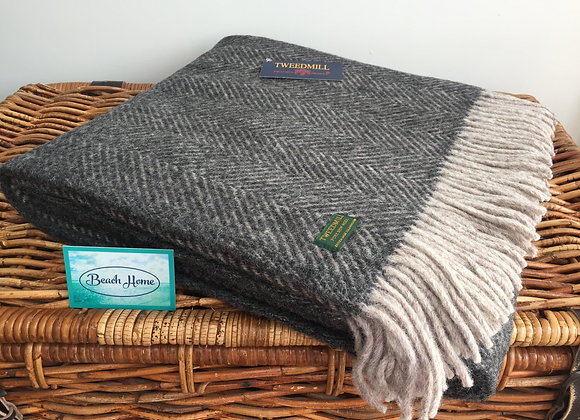 Tweedmill Textiles Pure New Wool Charcoal/Silver Grey Herringbone Throw/Blanket