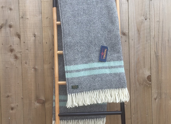 Tweedmill Textiles Pure New Wool Slate grey fishbone, Ocean Stripe Throw/Blanket