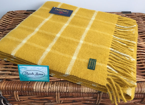 Tweedmill Textiles  Mustard Yellow chequered check Pure wool knee blanket