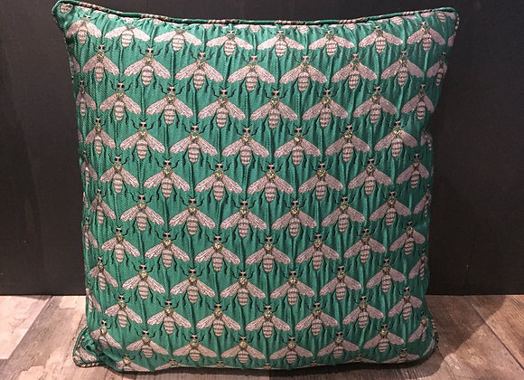 Large Emerald green jacquard metallic bee print cushion
