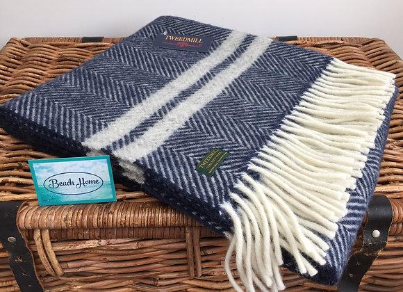Tweedmill Textiles navy fishbone with grey stripe pure wool knee blanket