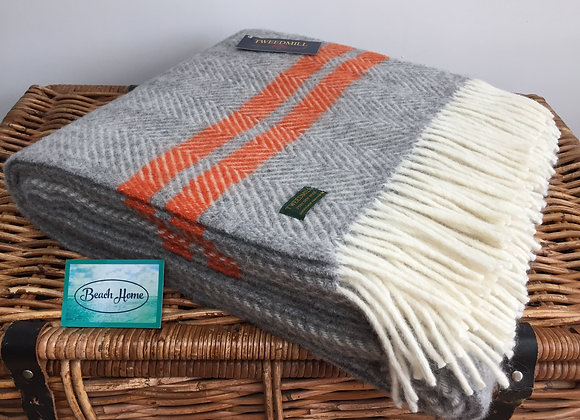 Tweedmill Textiles Pure New Wool grey fishbone 2 orange Stripe Throw/Blanket