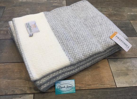 Tweedmill Textiles grey crossweave with cream band blanket/throw