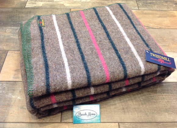 Tweedmill Textiles large recycled wool mix stripe blanket