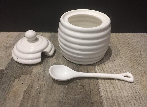 Parlane White ceramic Honey pot with spoon