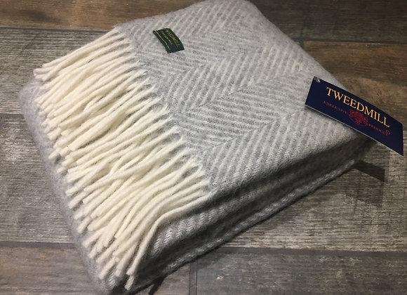 Tweedmill Textiles Pure New Wool Silver Grey Fishbone Scarf/ Shawl