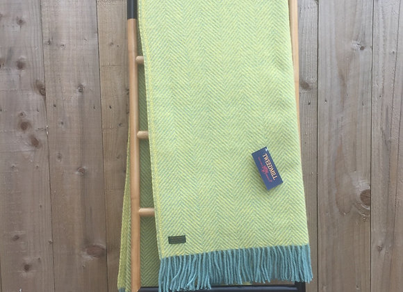 Tweedmill Textiles Pure New Wool Ocean and Yellow Herringbone Throw/Blanket