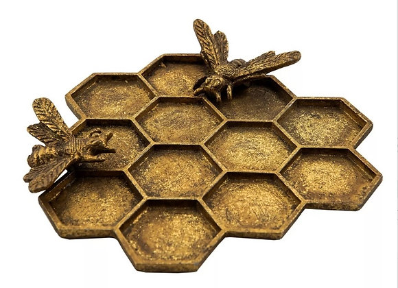 Gold Honey bee hive/ honeycomb jewellery dish