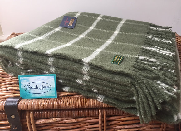 Tweedmill Textiles Pure New Wool Olive Green Chequerd Check Throw/Blanket
