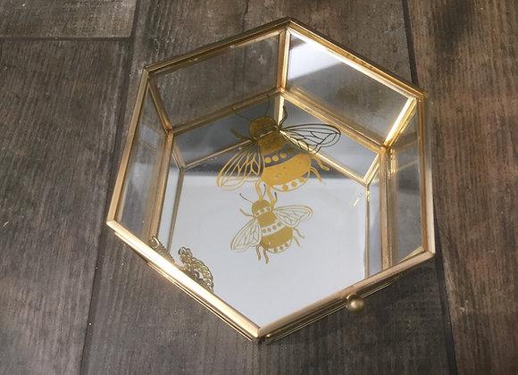 Sass & Belle Gold Bumble bee Hexagon Glass Metal Honeycomb Jewellery Trinket Box