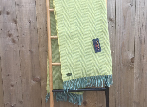 Tweedmill Textiles Pure New Wool Ocean/Yellow Herringbone Knee blanket