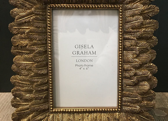 Gisela Graham Tropical feather gold photo frame